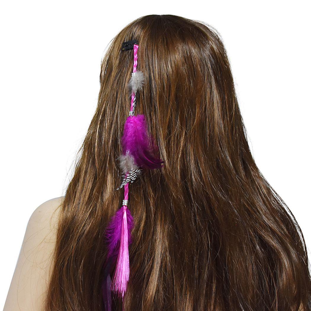 Fashion Bohemian Hippie Headband Colorful Feather Headdress Fashion Peacock Feather Headbands Hair Clip Accessories