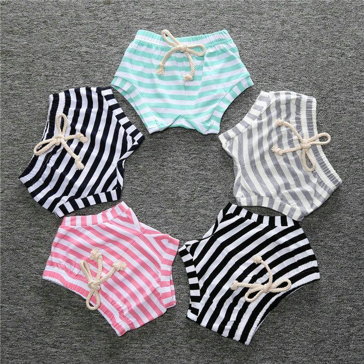 Infantil Bebé niña pantalones verano algodón rayado pp niños pantalones cortos fondos niños pantalones cortos casuales florers
