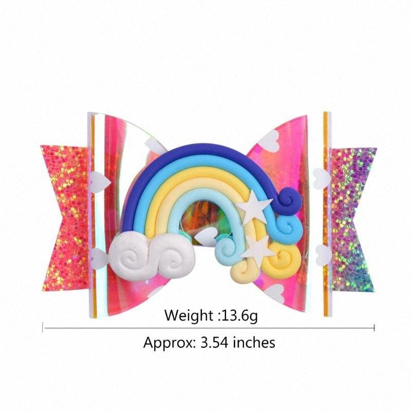 20 PC / porción, 9 cm de la venta caliente brillo arco de PVC con accesorios para el cabello de lentejuelas horquilla del arco iris de los niños coloridos 12 colores oRl5 #