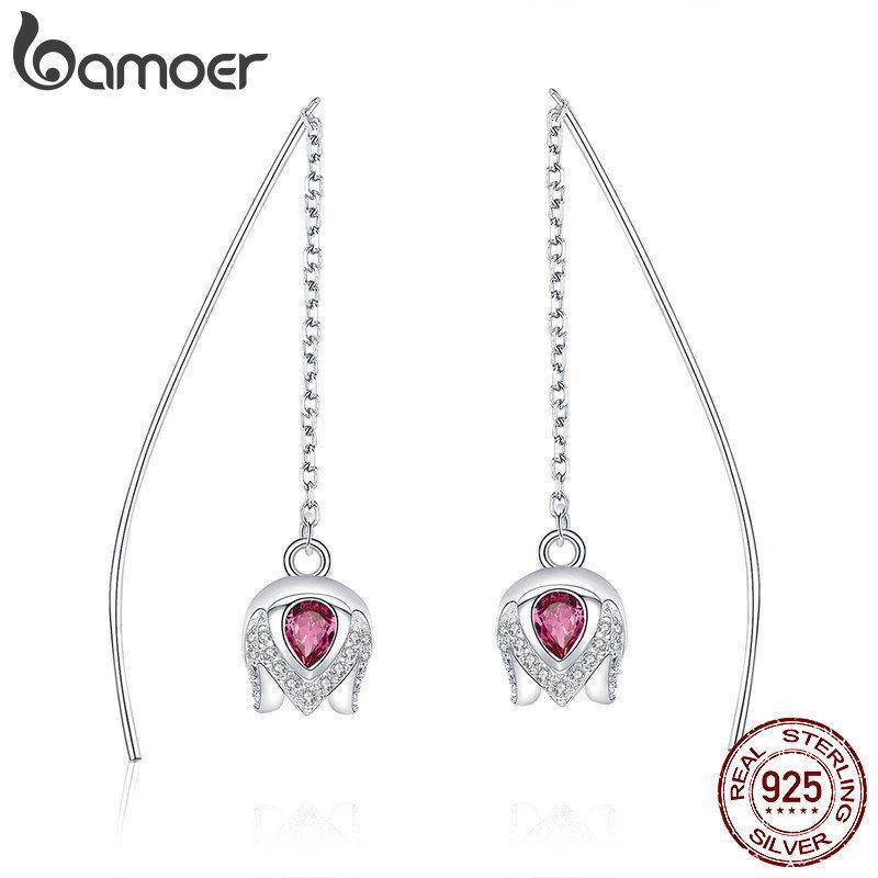 BAMOER Real 925 стерлингового серебра Романтический Тюльпан формы цветка падение серьги для женщин розовый CZ ювелирные изделия стерлингового серебра SCE504