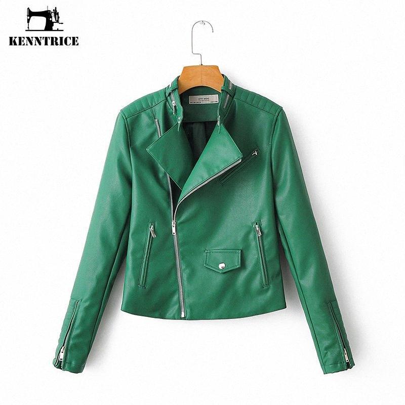 Kenntrice verde de la manera delgada de las mujeres de imitación chaqueta de cuero ocasional del motorista de la motocicleta chaquetas Mujer punky Streetwear Moto del motorista Escudo TiVB #