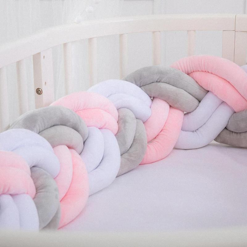 200cm 6 Threads Soft Baby Bed Bumper Crib Sides Newborn Crib Pad Protection Cot Bumpers Bedding For Infant QUIj#