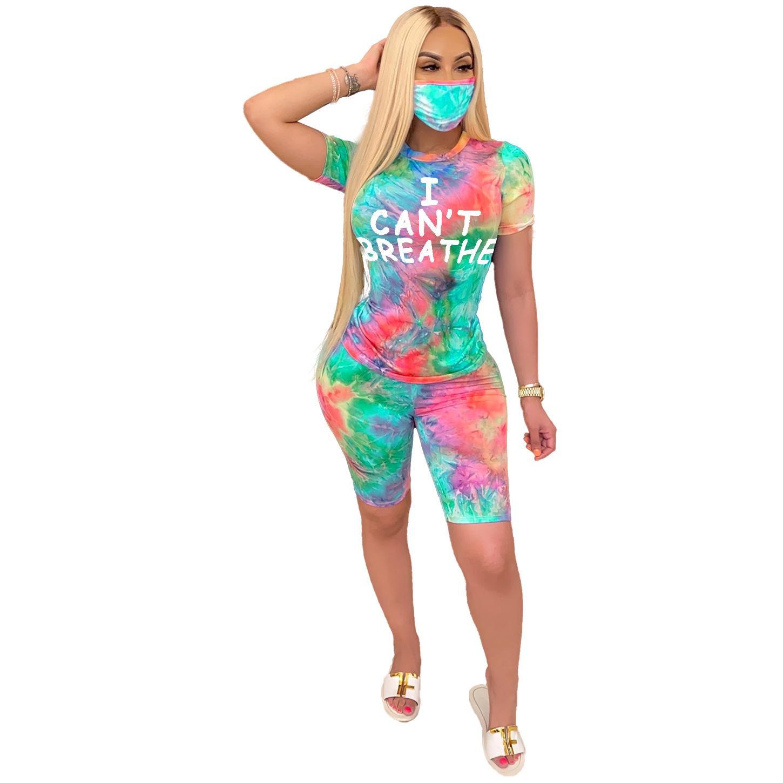 Eu não posso respirar Mulheres Fatos Tie-dye Impressão Carta Rodada pescoço Shorts Pants + Com Máscara Esporte Shorts Two Piece Sets Vestuário 30pcs GGA3550
