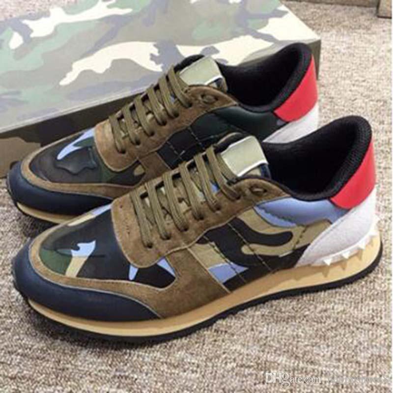 2020 nouveau cuir de chaussures en daim dentelle Rockrunner Camouflage Sneakers Flats Chaussures Casual Hommes Femmes Hommes M6 Flats formateurs