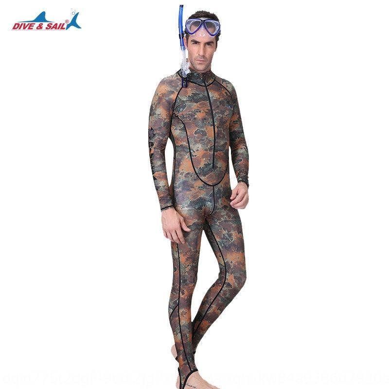 Kamuflaj erkekler çok fonksiyonlu mayo ön tek parça güneş dalgıç elbisesi dalış fermuar yüzmek mayo XRdwX