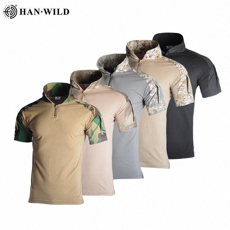 Los hombres de camuflaje táctico al aire libre camiseta transpirable US Army Combat camiseta de secado rápido de la caza de Camo de excursión que acampa camisetas MPVt #