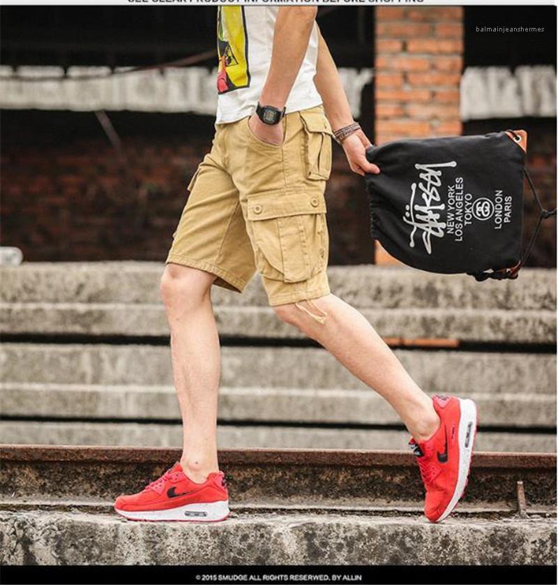 Été solide Couleur Hommes Shorts droite en vrac Casual Designer Mens Cargo Pants Longueur du genou taille Moyen Homme Shorts