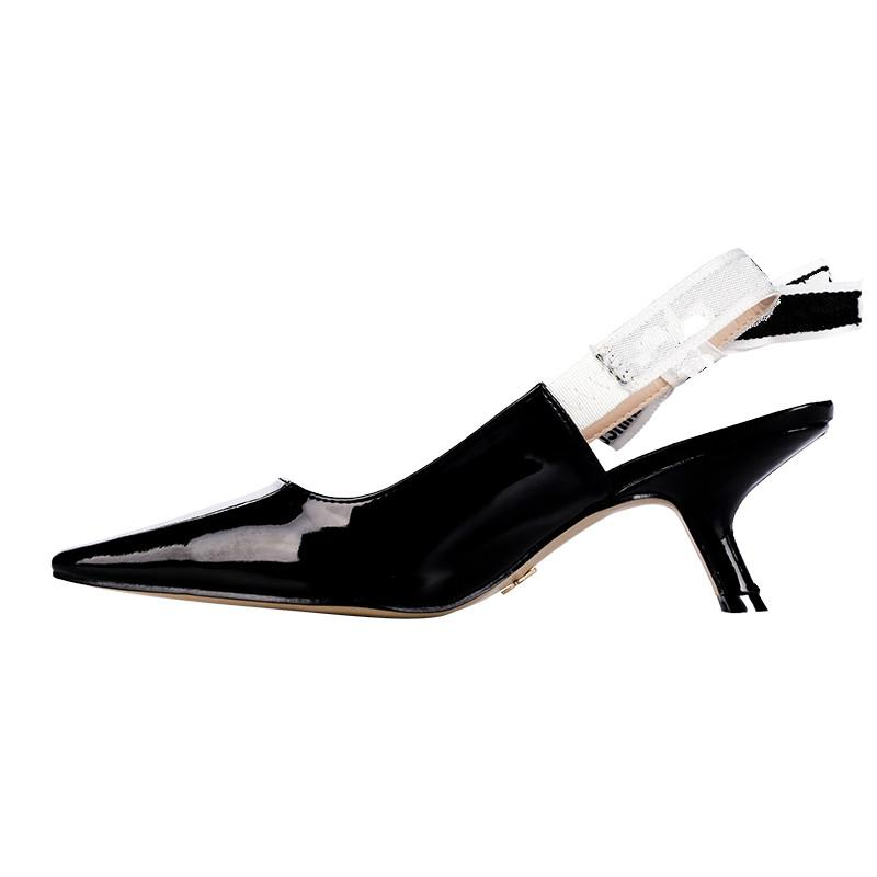 Women Dress Shoes Pointed Toe Patent Leather Pumps Ladies Letter Bow Knot High Heel Sandals Women Wedding Party Dress Shoes Q-686