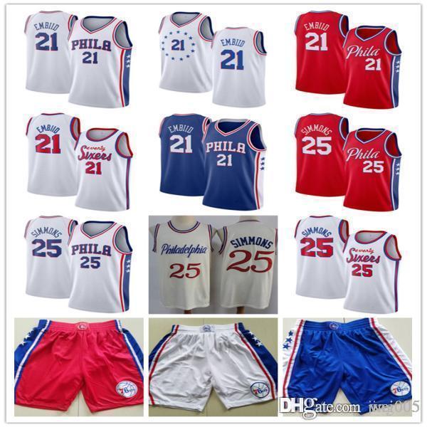 ErkeklerinPhiladelphia76ers21JoelAmbiid25 benSimmonsSiyah Beyaz Mavi Basketbol Formaları Basketbol Şort