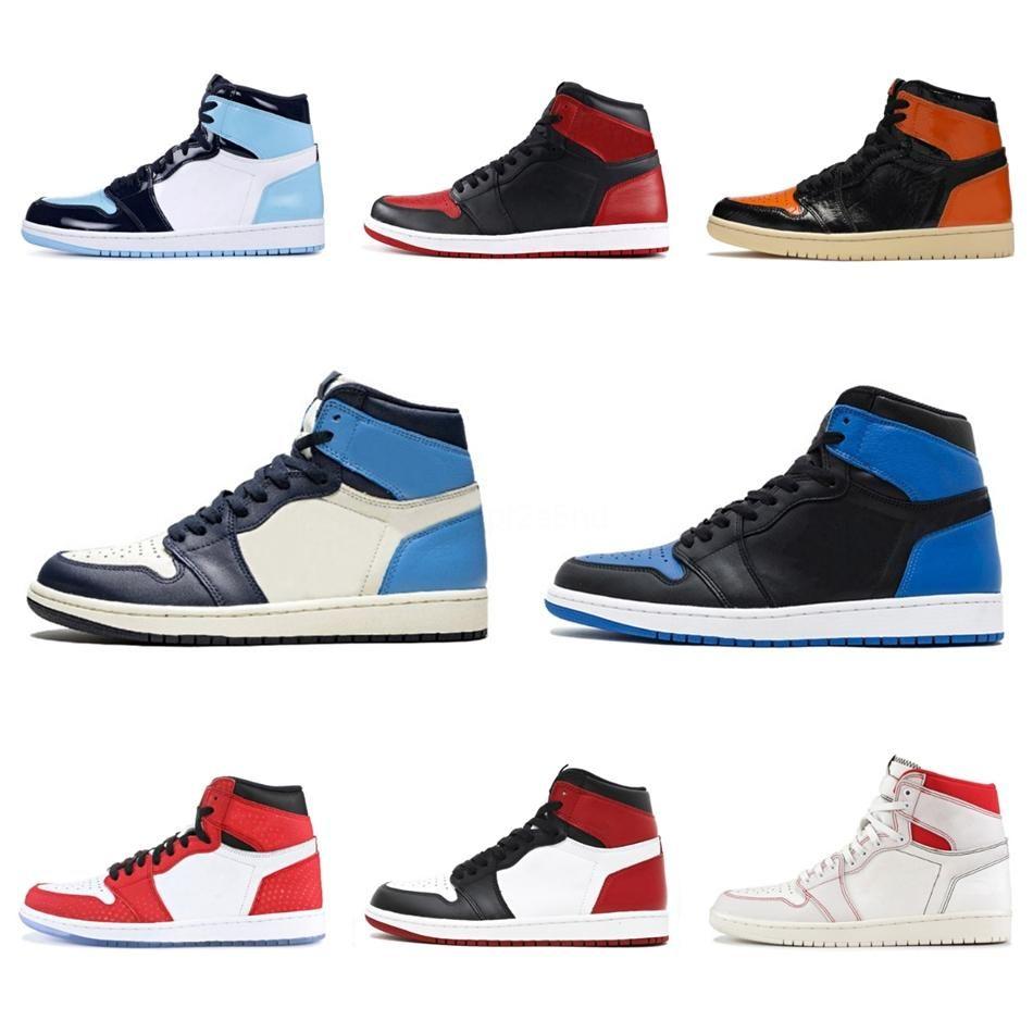 Zapatos de baloncesto de Jumpman 1 1S alta Og Unc Chicago pino verde Scotts Travis diseñador para mujer para hombre zapatillas de deporte de Entrenadores Tamaño 5,5-12 # 857
