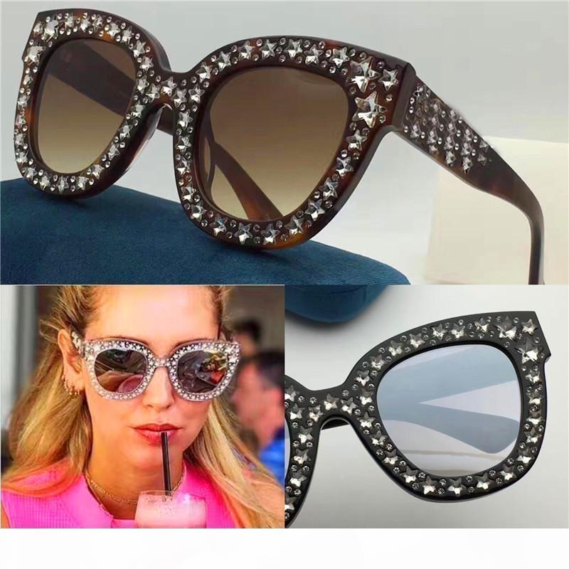 S New Sale Designer Sunglasses Charming Cat Eye Large Frames Cut Diamonds Small Diamonds Woman Fashionable Style Top Quality 0116