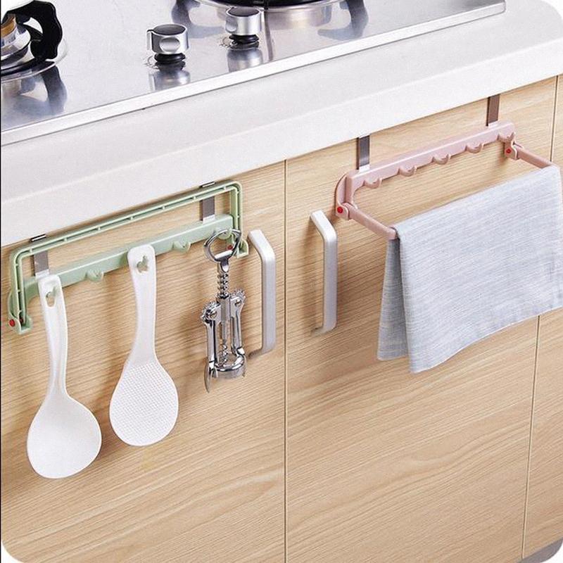 3 colori facoltativi multi-funzione di armadietto pieghevole porte 5 collegamento asciugamano chiodo cremagliera straccio da cucina gancio posteriore fila senza gancio ZP3041346 4dkH #