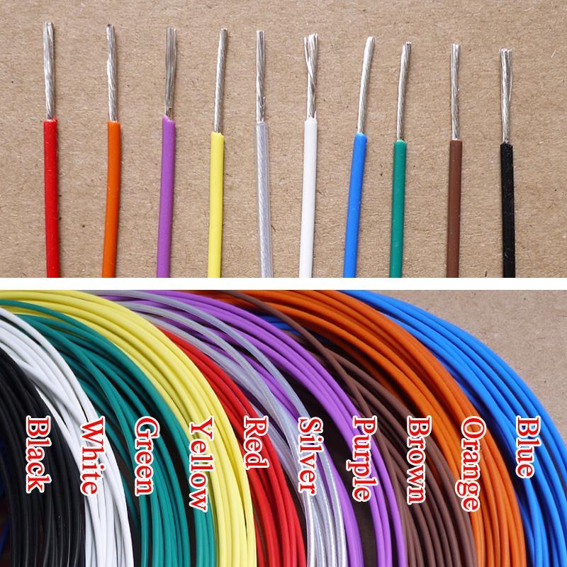 Teflón alambre plateado plata OD 0.88mm PTFE suave Aislar Electrón cable OFC de cobre estañado de alta temperatura de auriculares línea colorida