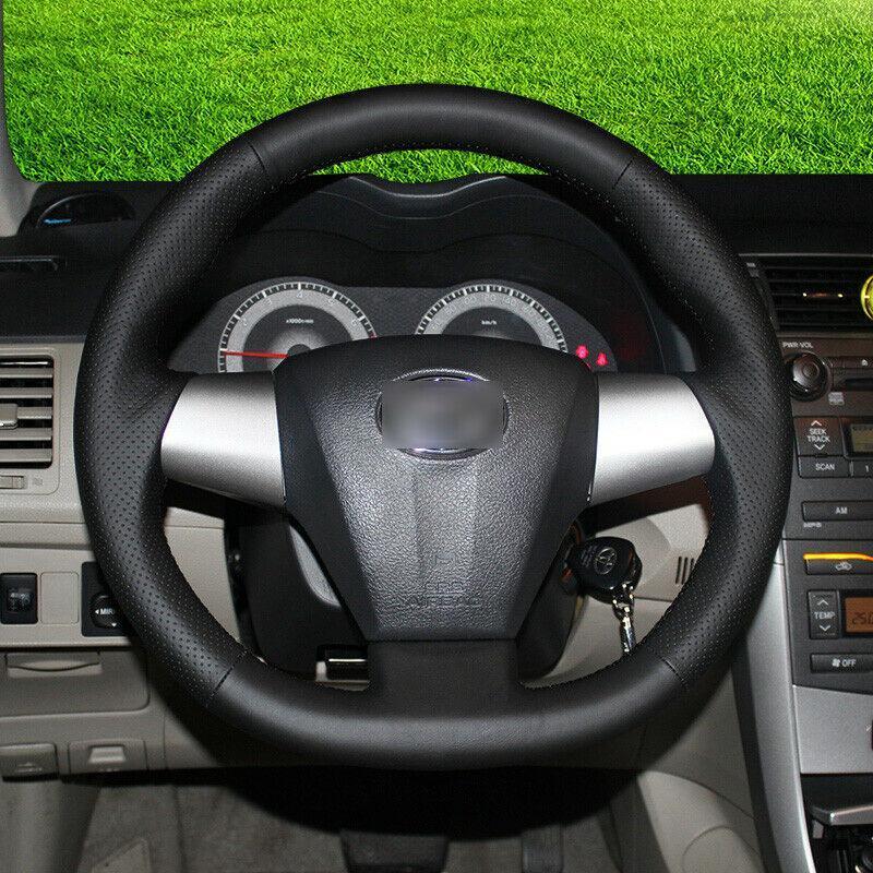 Maßgeschneiderte Handstich Schwarze Lederlenkradbezüge für Toyota Corolla