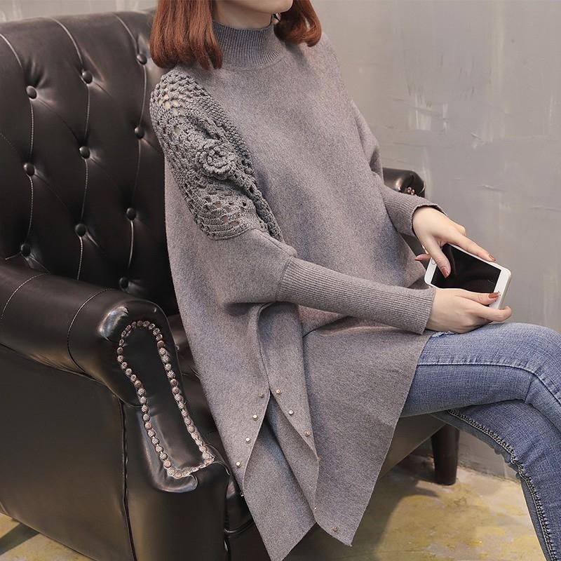 V35bF 2019 Sonbahar / Kış Yeni için içi boş pelerin üst kazak büyük boy zayıflama örme uzunluğu gömlek Kadın katı Üst Cloak kazak rengini gevşek