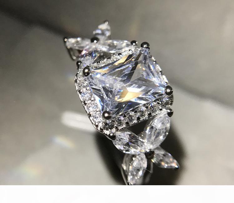 ZHF Jóias 2CT Wedding Bands 925 prata esterlina anel de casamento Anéis de noivado para as mulheres Top Quality