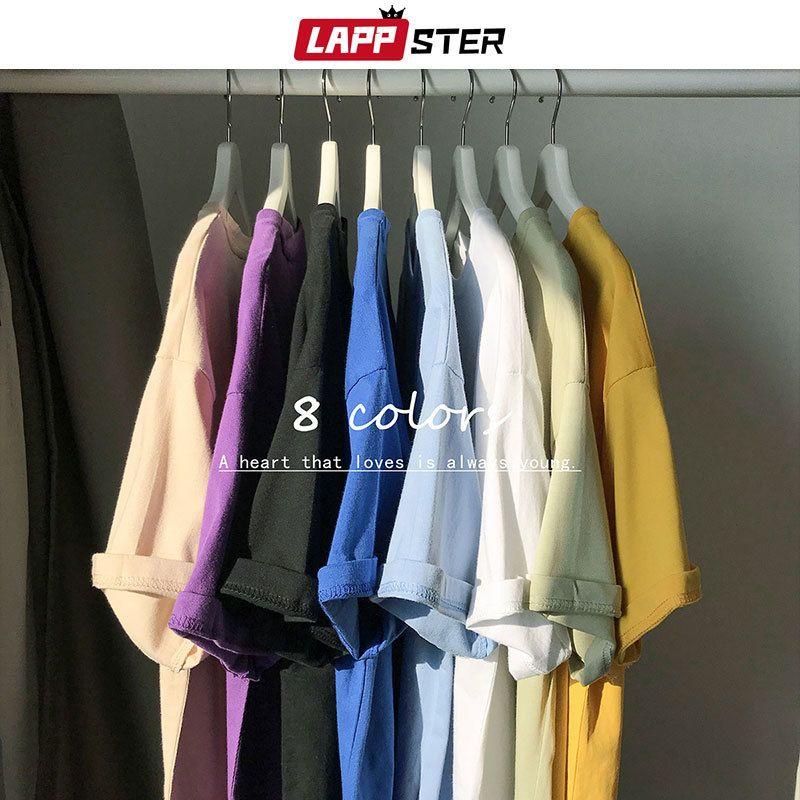 LAPPSTER Dropshipping Harajuku sólido divertido camisetas Verano 2020 de los hombres de Hip Hop colorido alta calidad camisetas de algodón Packa remata tes Y200611