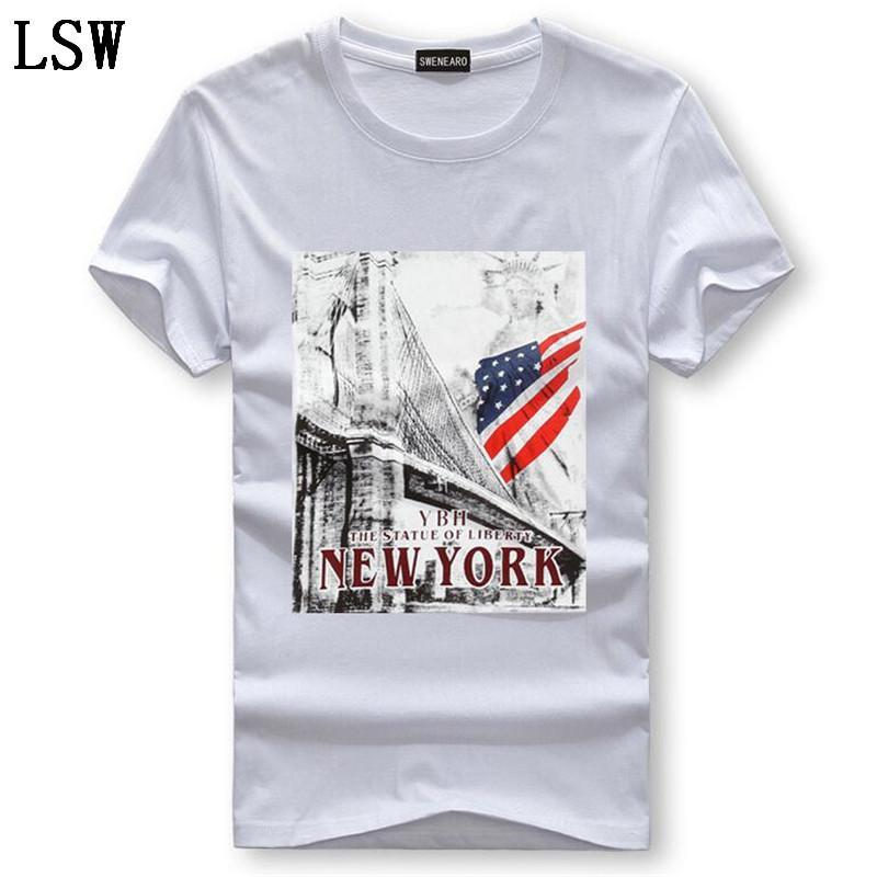 Uomini di estate calda di vendita abbigliamento T-shirt fumetto della stampa USA Flag T shirt Uomo manica corta casuale cotone T shirt da uomo C-1