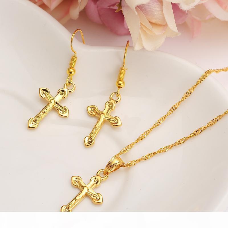 R Spezielle Design Christliche Vogue wahre Echt 24k Fest Fine Gold Gf Kruzifix-Kreuz-Timeless Charm Ohrringe Anhänger Kette Set