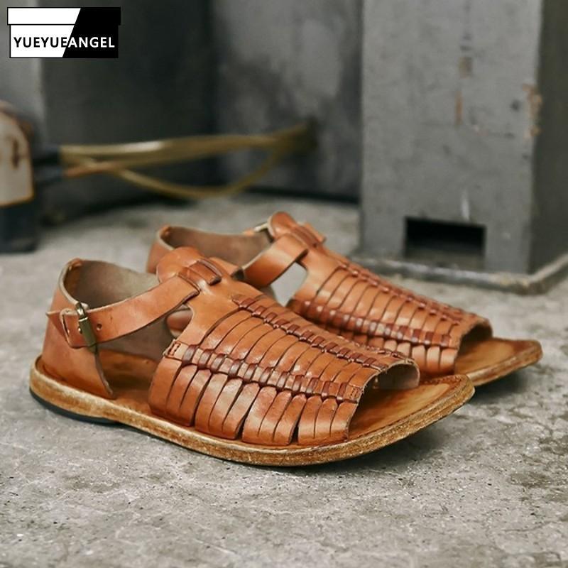 Main Weave Vintage Rome Sandales hommes luxe en cuir véritable peau de vache sandales d'été ouvert Toe Buckle Chaussures plates Plus Size