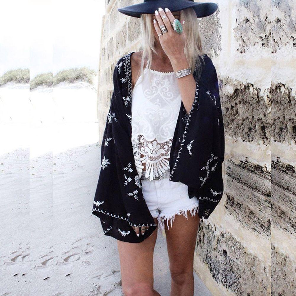 2019 Sommer gedrucktes Chiffon- Bikini-Vertuschung-Cardigan Frauen Bademode Kaftan Strand Tuniken Badeanzug Cape Strand Pareos Robe De Plage Y200706