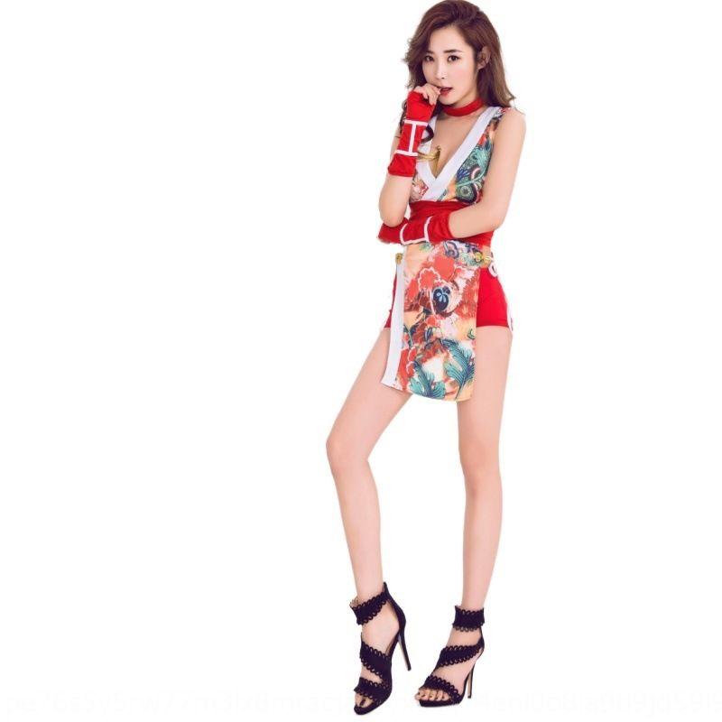 Novo estilo bar estágio roupas de combate cheongsam cosplay bar roupas terno cantor terno estágio sexy ninja desempenho feminina wQHoI