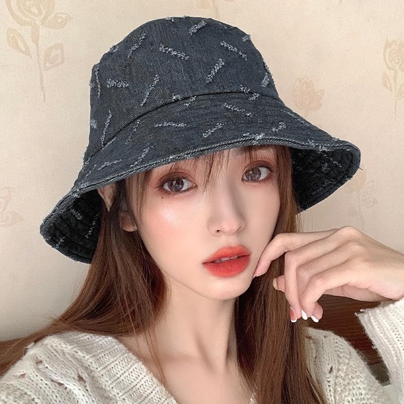 seau seau printemps femmes pêcheur et loisirs été tout match soleil épreuve chapeau de bassin denim lettre à la mode de style coréen chapeau de soleil