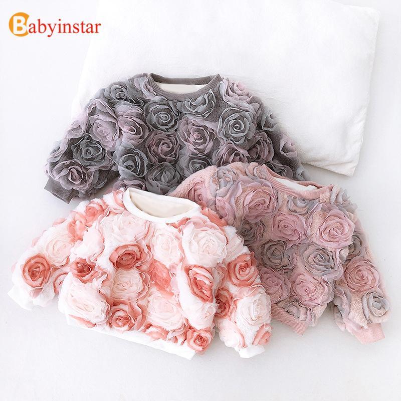 Babyinstar 2-8Y Blume Netz Baby-Sweatshirts für Kinder Kleidung Mädchen Tops Kinder-Sweatshirts Baby-Frühlings-Kleidung CX200722