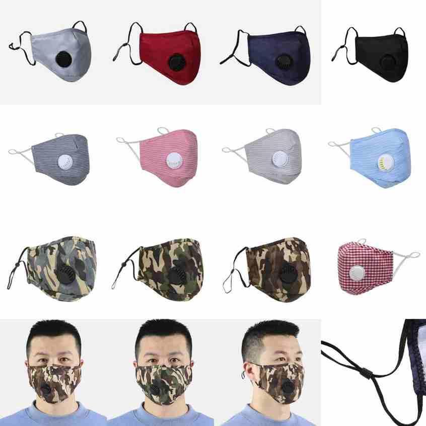 12 styles Masque des masques de valve respiratoire anti-poussière réglables masques buccaux réutilisables lavables masques de camouflage de P2,5 respirant CYZ2477 de 60pcs