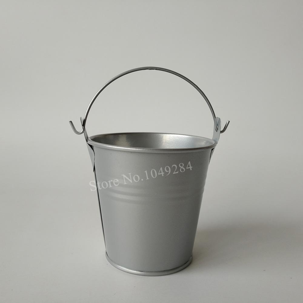 D7.5XH7.5CM argenteo Colore Zincato Mini Secchi di latta vasi fioriere Piccolo secchi Vaso di fiori di zinco succulente