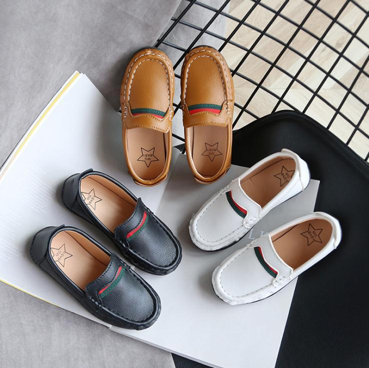 Mode Soft Boys Chaussures enfants Mocassins Slip-on pour enfants Chaussures de sport tout-petits garçons occasionnels Version classique Taille 21-30