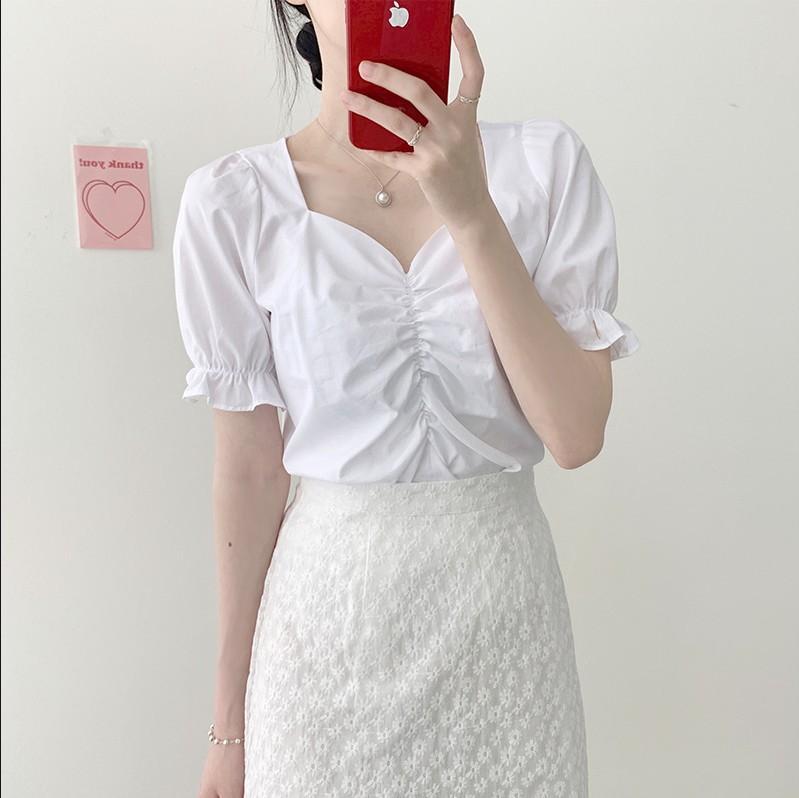 meninas novas Verão blusa v pescoço camisa de mangas curtas Tops cintura alta renda broto de seda bordados uma linha de saias Duas ternos