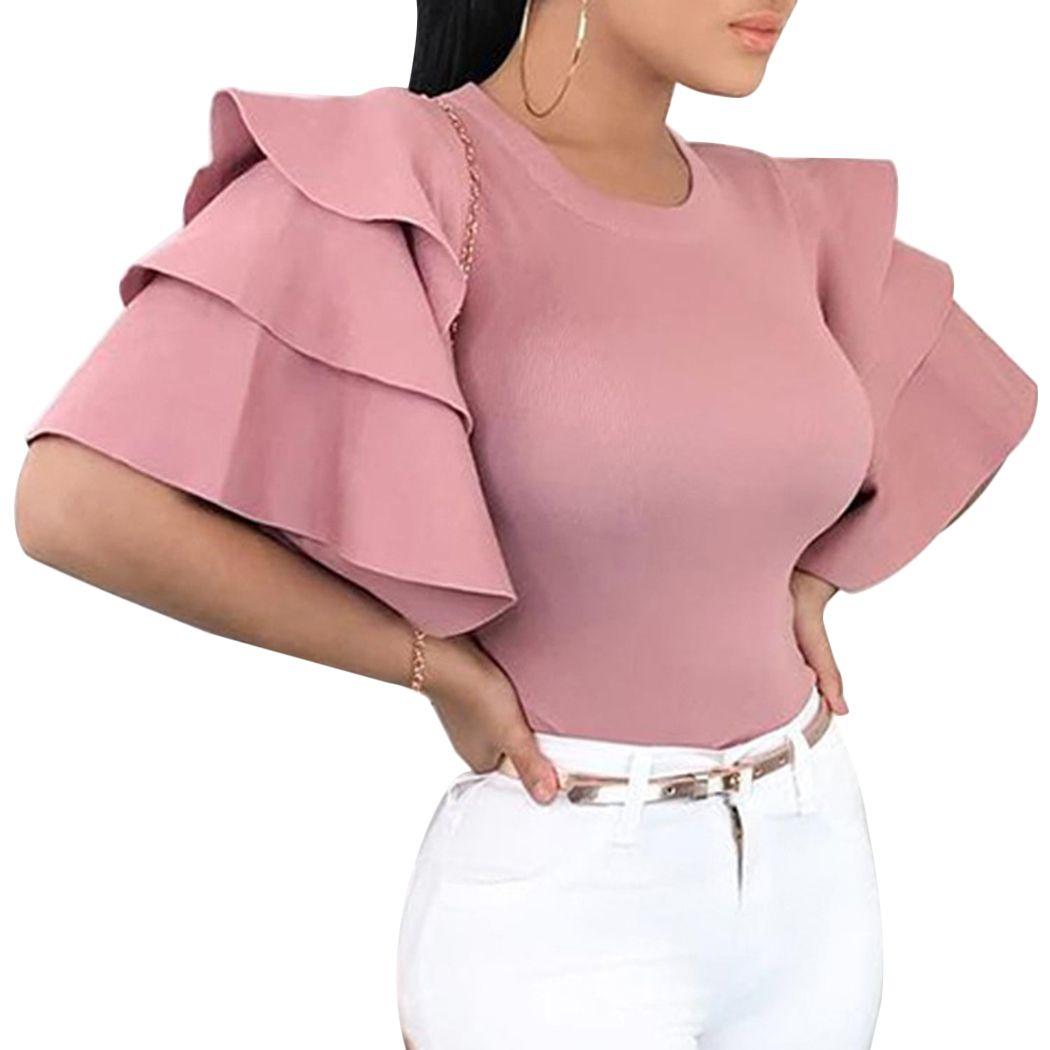 Femmes Blouses manches courtes Ruches 2019 Été Tops élégant O col Slim Mesdames bureau Chemise coréenne de mode rose rouge Chemisier Blusa Y19050501