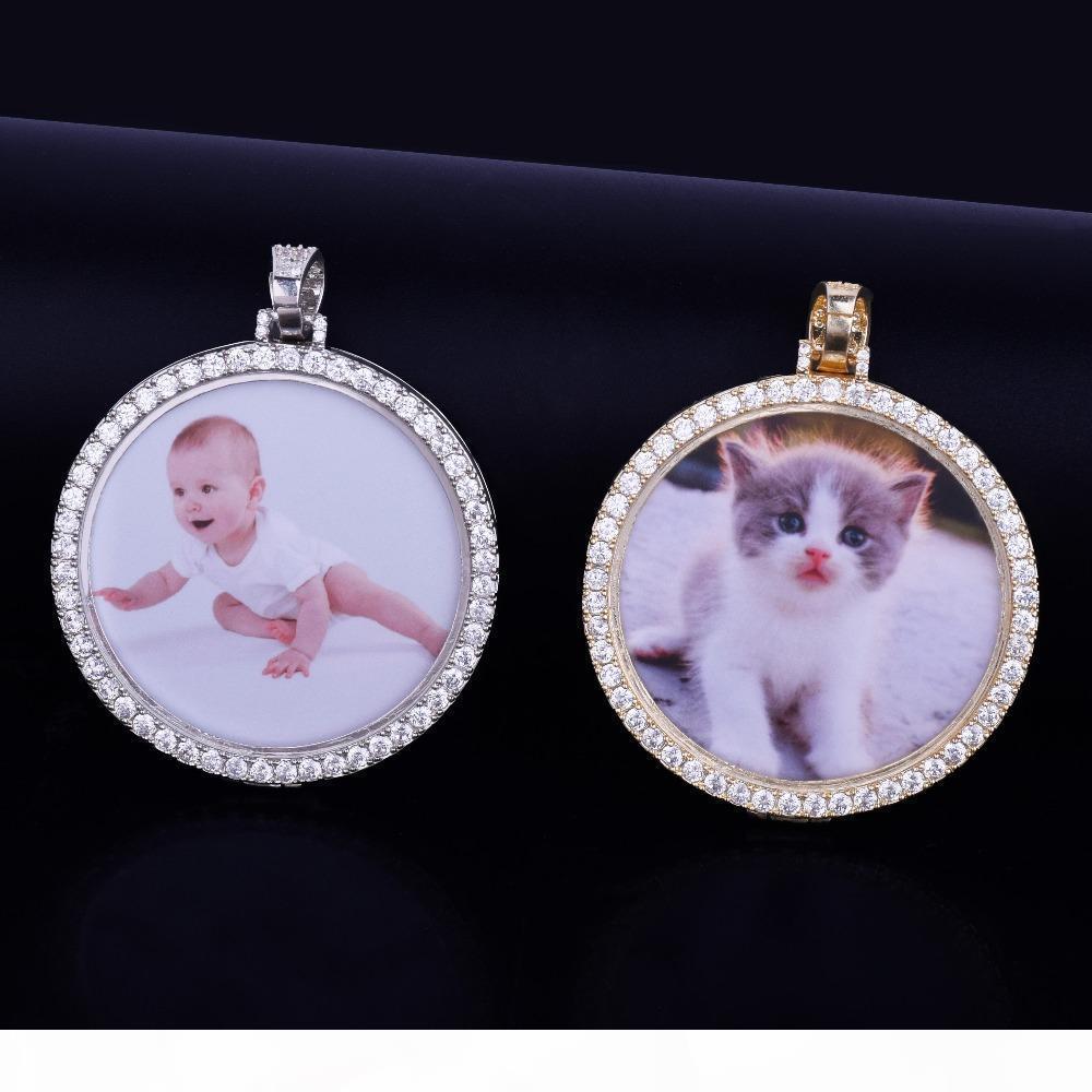 Сшитое Фото ожерелье Медальоны подвеска с 3 4мм теннис цепи Золото Серебро Цвет кубический циркон Мужчины хип-хоп ювелирных изделий