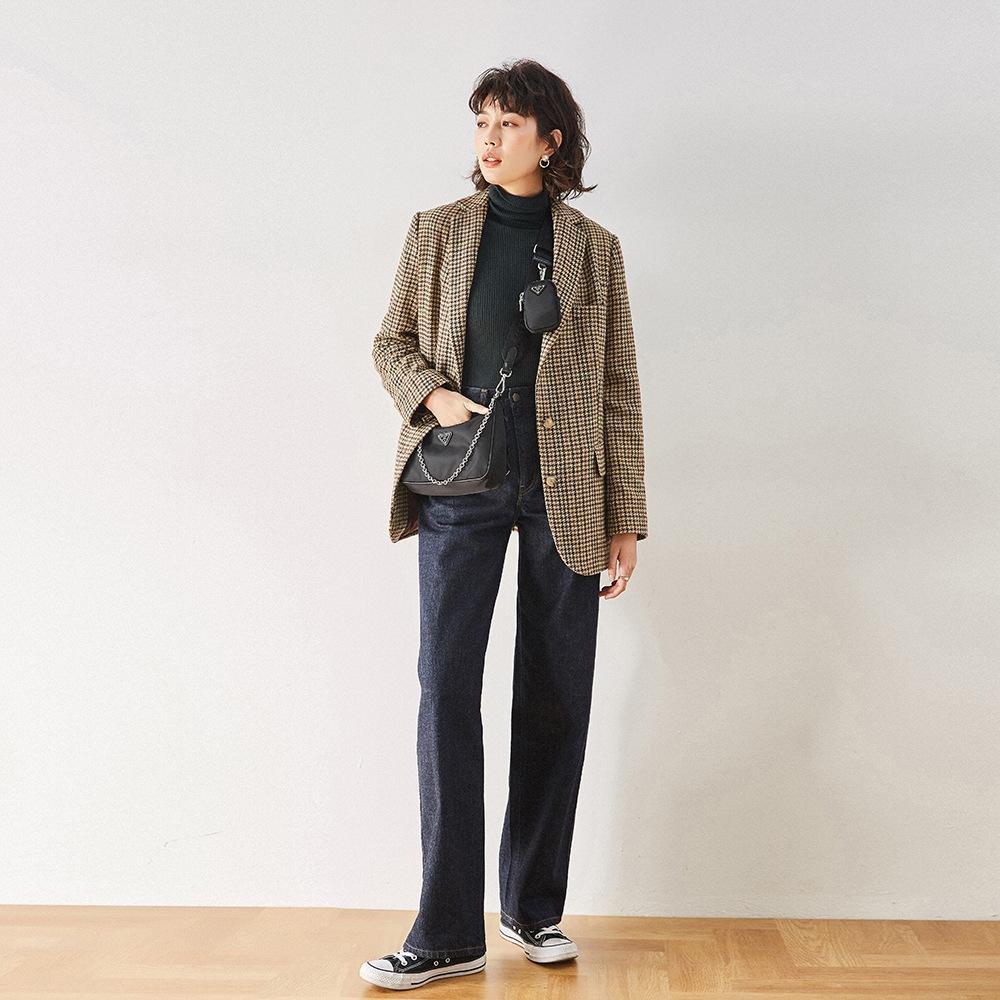 2020 Escudo coatAutumn Nueva Celin Yang Mi Sun Zi Yang Yizhen Corea del pájaro del estilo perfil de celosía chaqueta para las mujeres 7562