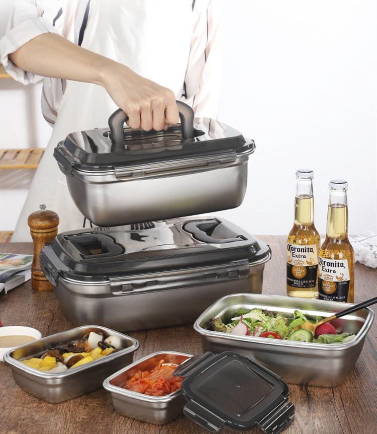 Acciaio inossidabile 304 contenitore di alimento Bento Box di stoccaggio cucina pranzo oggetti Organizzatore Frigorifero Accessori Organizer Forno T200710