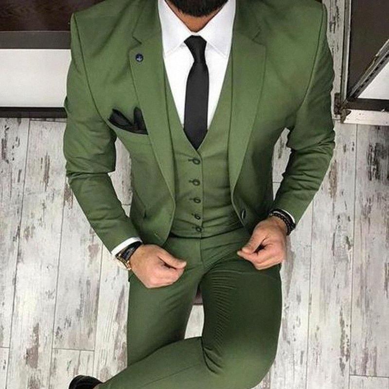Arm Green Men Костюмы свадебных смокинги 2020 Три пьесы Groom Жилет Blazer последнего типа (куртка + брюки + жилет) b5ip #