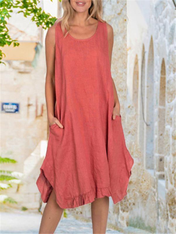 etek gevşek önlük elbise femme elbise Bayanlar kırmızı cepler fırfır boyun o Vintage pamuk keten düzensiz elbise Kadın kısa kollu