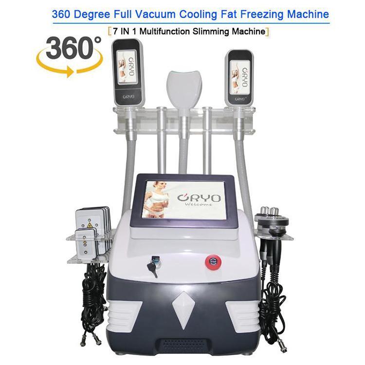 7 1 Kriyoterapi ile 3 Cryo Kolları + 40K + Rf + Yüz Rf + 6 Tamponlar Lazer Kavitasyon 360 ° çift çene Temizleme zayıflama makinesi içinde