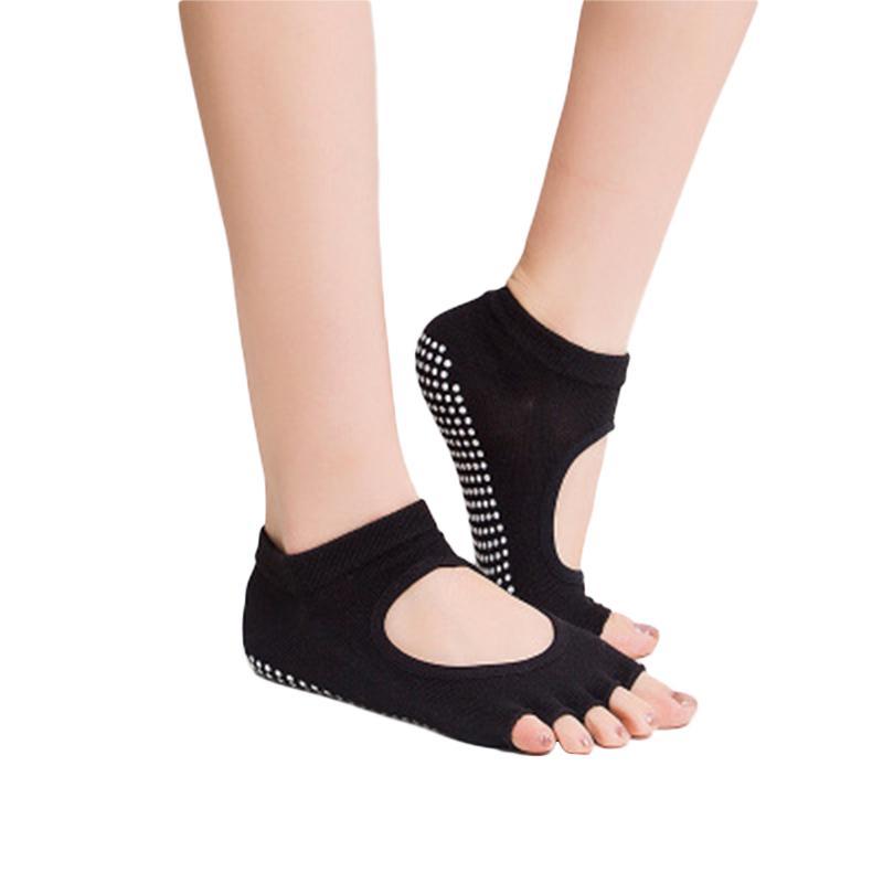 Ladies Fashion Cotton Yoga Socks Sports Non-slip Silica Gel Five Toes Socks Women Belly Dance Ballet Dance Half Toe Design