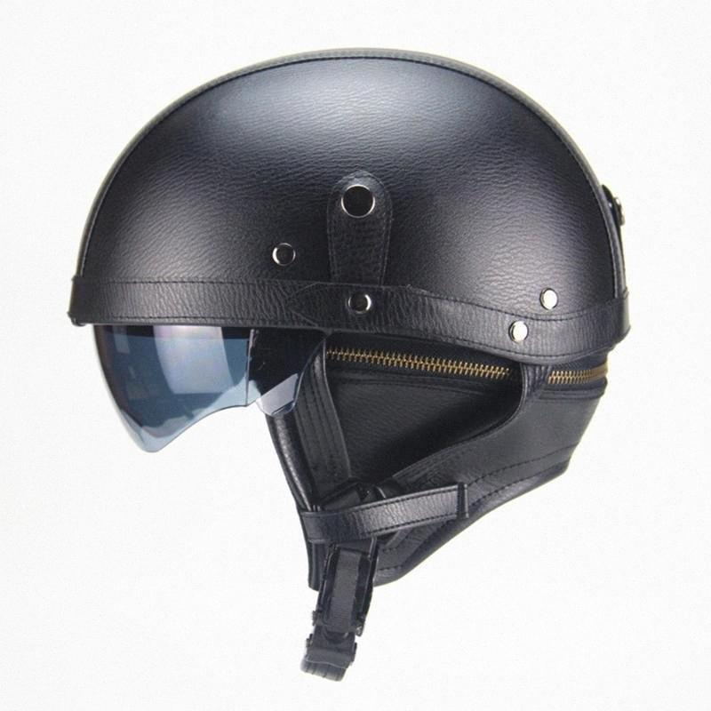PU Leather Motorcycle Helmet Adult Open Face Motorcycle Helmets With Sun Visor And Detachable Warm Collar KVUa#