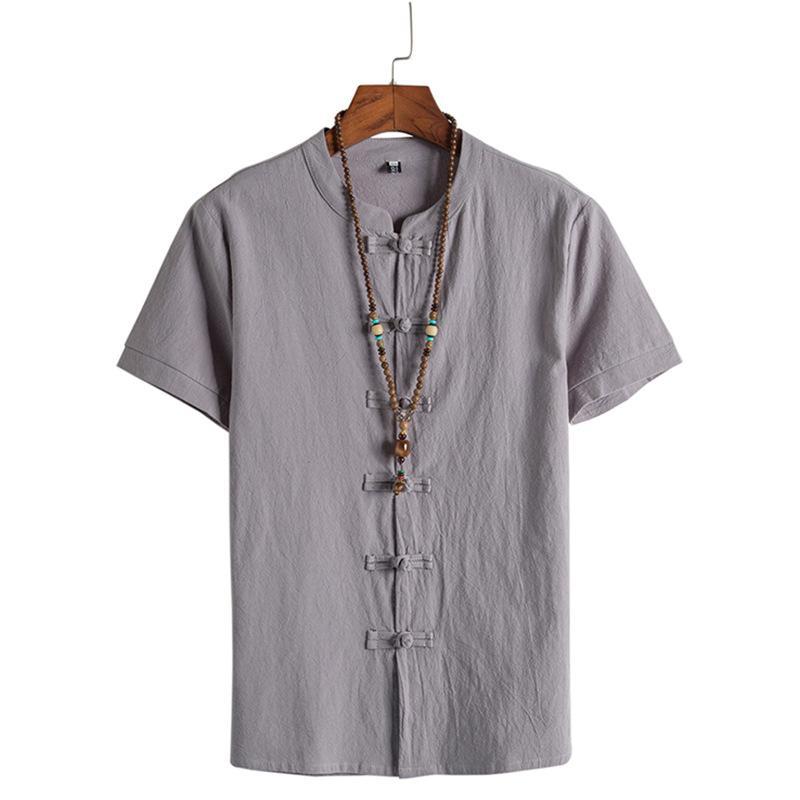 2020 Новый китайский стиль хлопок белье пряжки мужской рубашка с короткими рукавами стоячий воротник льняной мужской рубашки одежды