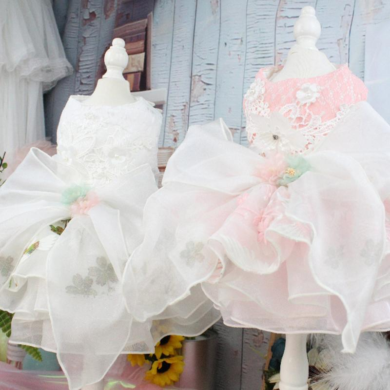 Pet Dog Dress Handmade Princess Wedding Dresses Puppy Clothes Big Bow-knot Embroidery For Small Dogs Chihuahua Poodle Tutu Dress T200710