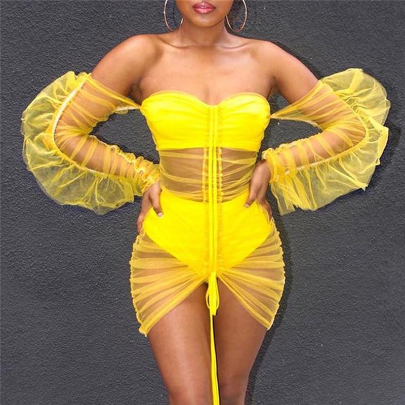 Partito delle donne sexy di modo dei vestiti di colore giallo Slash collo See Through Abito a rete del nuovo delle donne vestito dal progettista