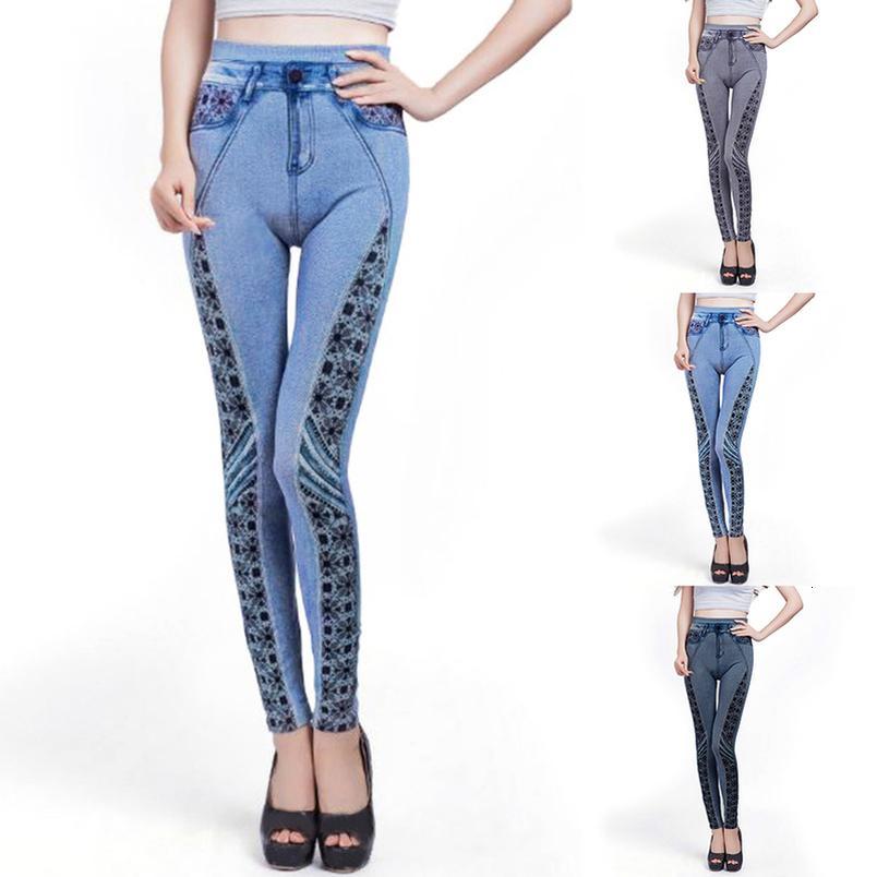 Kadın Sıkı Tayt Skinny Tozluklar Yüksek Bel Pantolon Bayan Casual Slim Kalem Pantolon yazdır Sorunsuz İmitasyon Kot 2020