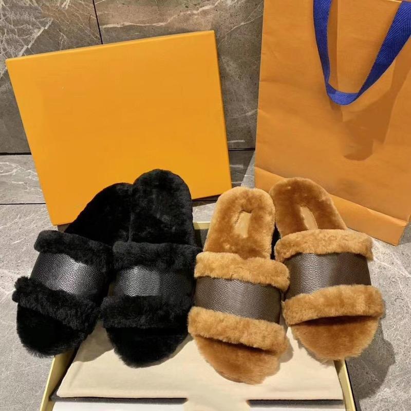 inverno plana New monograma Fur c bloqueá-lo desliza mulheres Designer sandália sapatos quentes lã Couro Pele chinelo Moda mulas US4-11