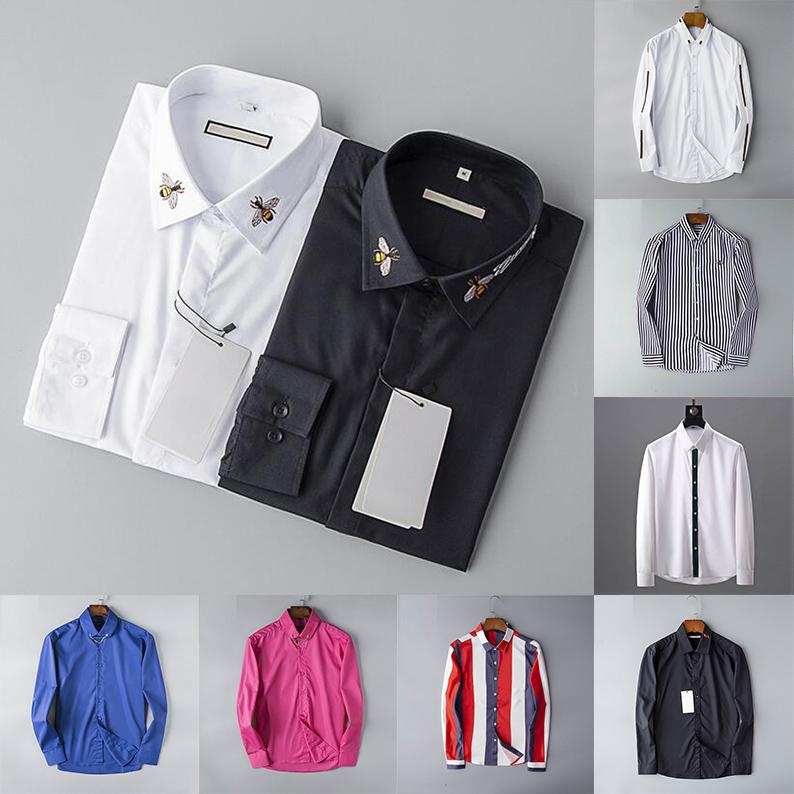 2020 Designer Mens Dress Shirts beiläufige Art und Weise Hemd Marken Herren Shirts Frühlings-Herbst-Slim Fit Shirts chemises de marque gießen hommes