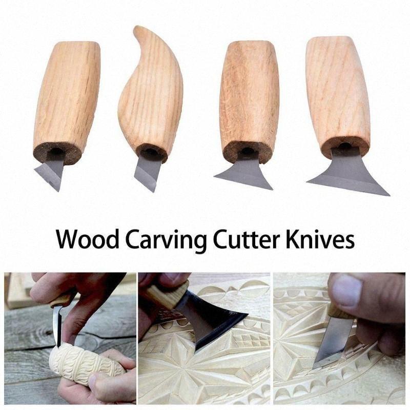 Bıçak Ağaç yontmak için Başlayanlar Şekillendirici Profesyonel Bıçaklar pJz3 # Oyma 4pcs / Set Ahşap Oymacılığı Araçlar Geometrik Cilalama