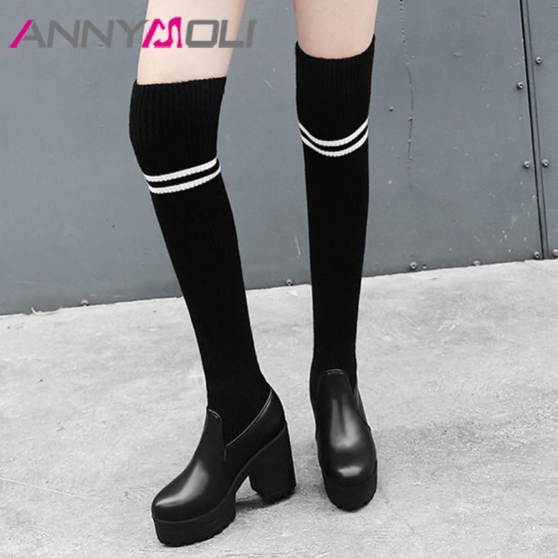 Diz Boots Kadın Kalın Ökçe Üzeri ANNYMOLI Platformu Süper Yüksek Topuk Uyluk Yüksek Boots İnce Stretch Ayakkabı Kadın Uzun 43