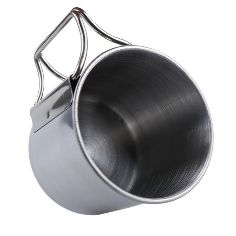 6pcs Pot Pan Açık Sırt Çantası Yürüyüş Cook Kaplar barbekü Kamp ateşi Taşınabilir Kupa Tencere Seti Paslanmaz Çelik Kamp Yemekler